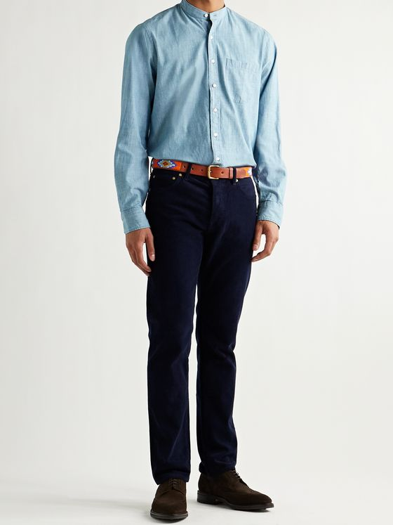 Sid Mashburn Grandad-Collar Cotton-Chambray Shirt