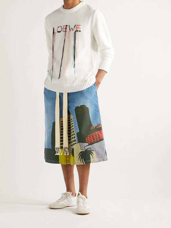 LOEWE + Ken Price L.A. Series Wide-Leg Printed Denim Drawstring Shorts