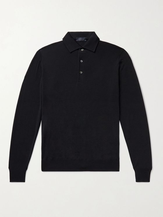 THOM SWEENEY Super 120s Merino Wool Polo Shirt