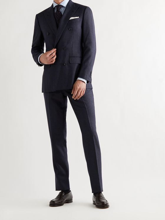 THOM SWEENEY Double-Breasted Wool Suit Jacket
