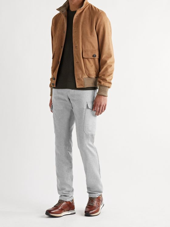 THOM SWEENEY Slim-Fit Mélange Wool-Blend Cargo Trousers