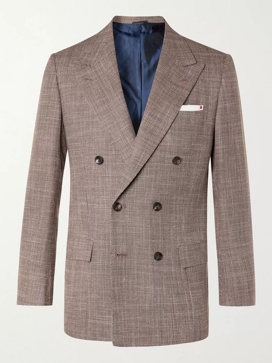KITON Slim-Fit Double-Breasted Puppytooth Cashmere, Virgin Wool, Silk and Linen-Blend Suit Jacket