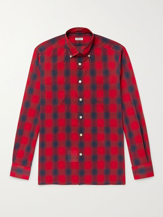 KITON Button-Down Collar Checked Cotton and Lyocell-Blend Shirt