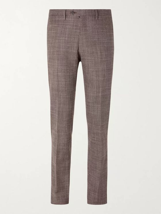 KITON Slim-Fit Puppytooth Cashmere, Virgin Wool, Silk and Linen-Blend Suit Trousers