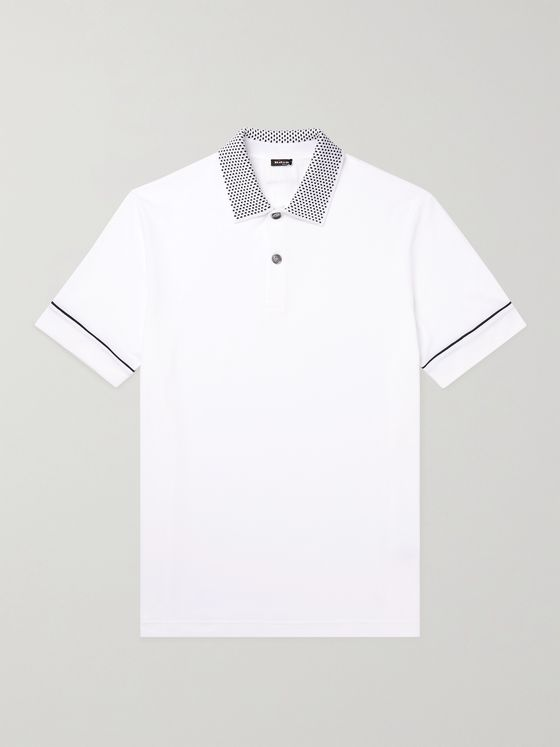 KITON Contrast-Detailed Cotton Polo Shirt
