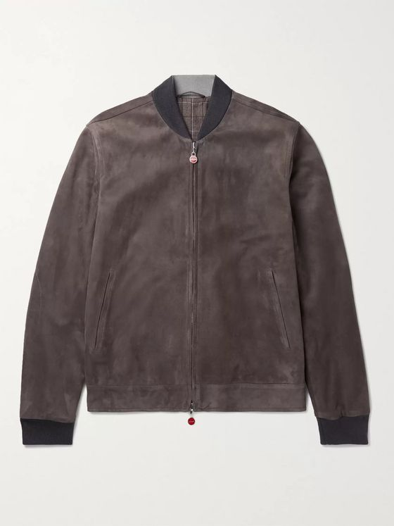 KITON Reversible Suede and Checked Virgin Wool Bomber Jacket