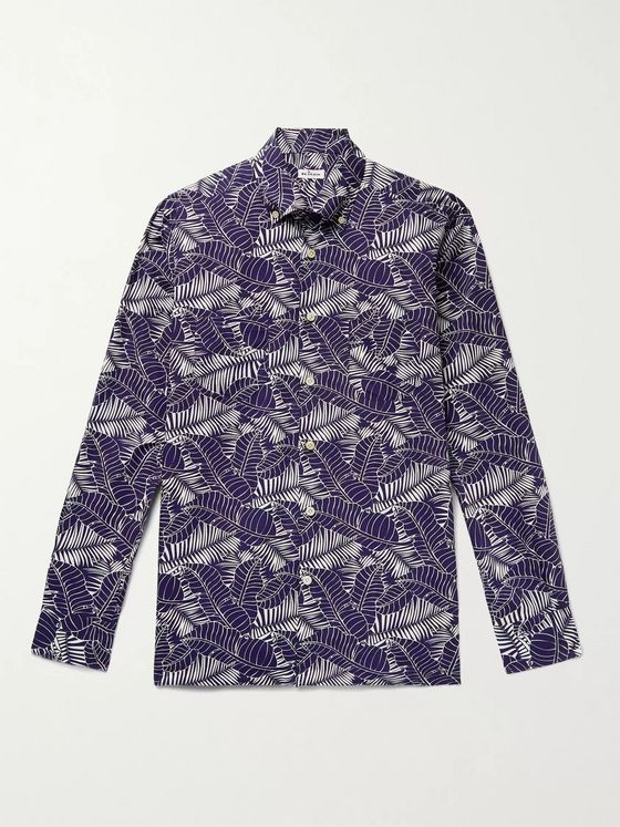 KITON Button-Down Collar Printed Cotton Shirt
