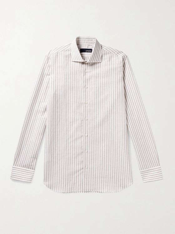 Lardini Striped Linen and Cotton-Blend Shirt
