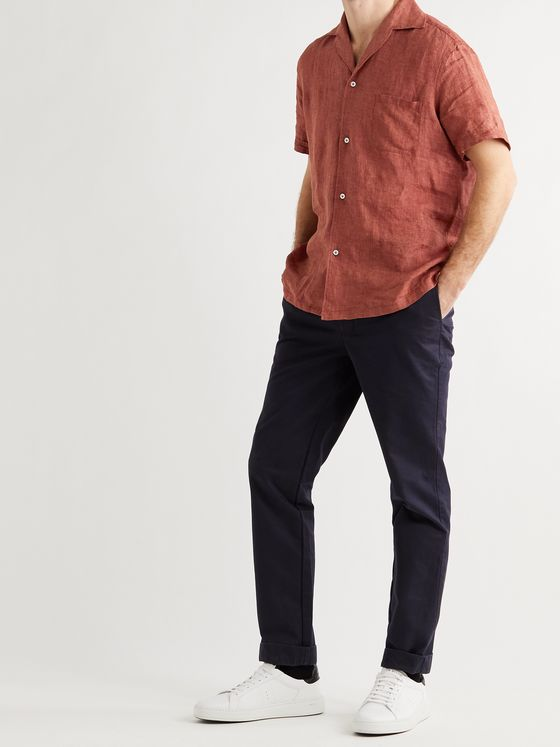 Lardini Camp-Collar Linen Shirt