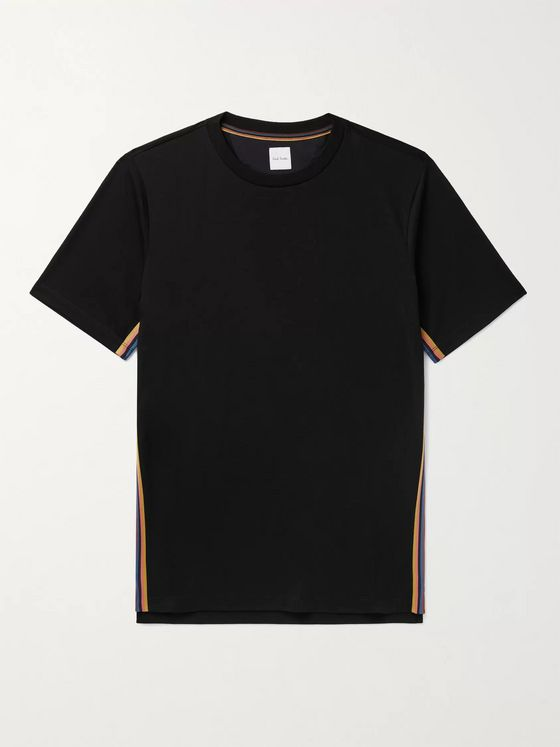 PAUL SMITH Striped Webbing-Trimmed Organic Cotton-Jersey T-Shirt