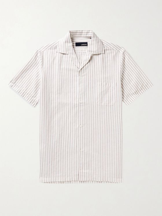 LARDINI Camp-Collar Striped Linen and Cotton-Blend Shirt