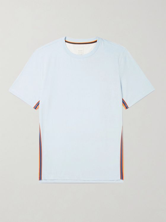 PAUL SMITH Slim-Fit Striped Webbing-Trimmed Organic Cotton-Jersey T-Shirt
