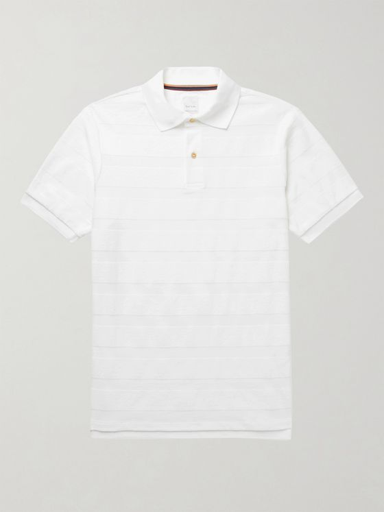 PAUL SMITH Striped Cotton-Terry Polo Shirt