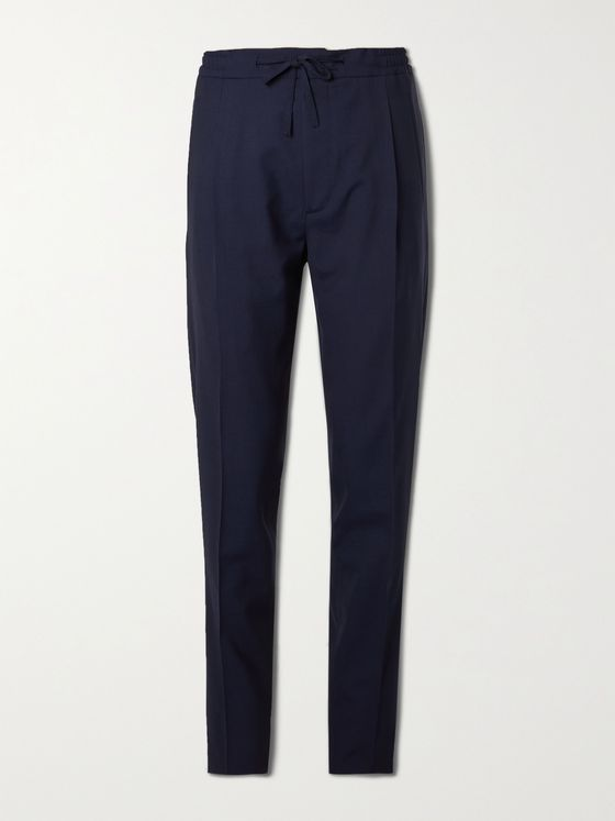 LARDINI Tapered Pleated Micro-Checked Wool-Blend Drawstring Trousers
