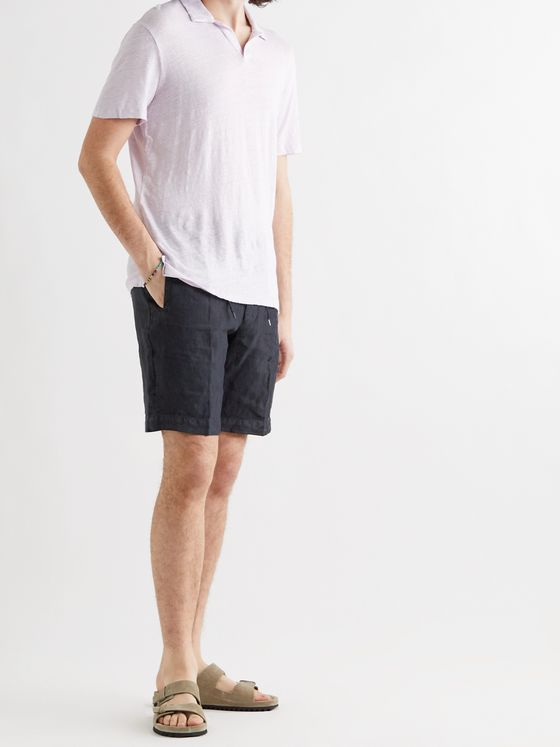 LARDINI Pleated Linen Drawstring Shorts