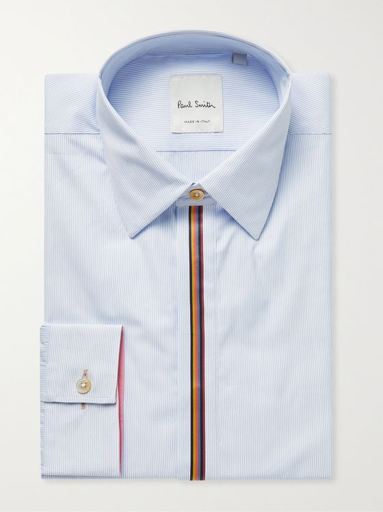 PAUL SMITH Slim-Fit Webbing-Trimmed Striped Cotton-Poplin Shirt