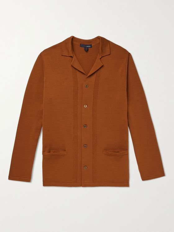 LARDINI Slim-Fit Camp-Collar Cotton Blazer