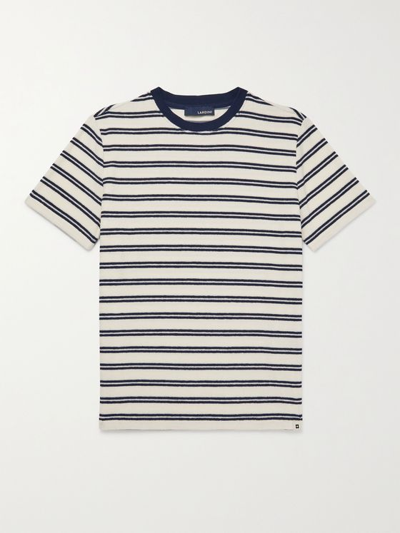 LARDINI Striped Cotton-Blend Terry T-Shirt