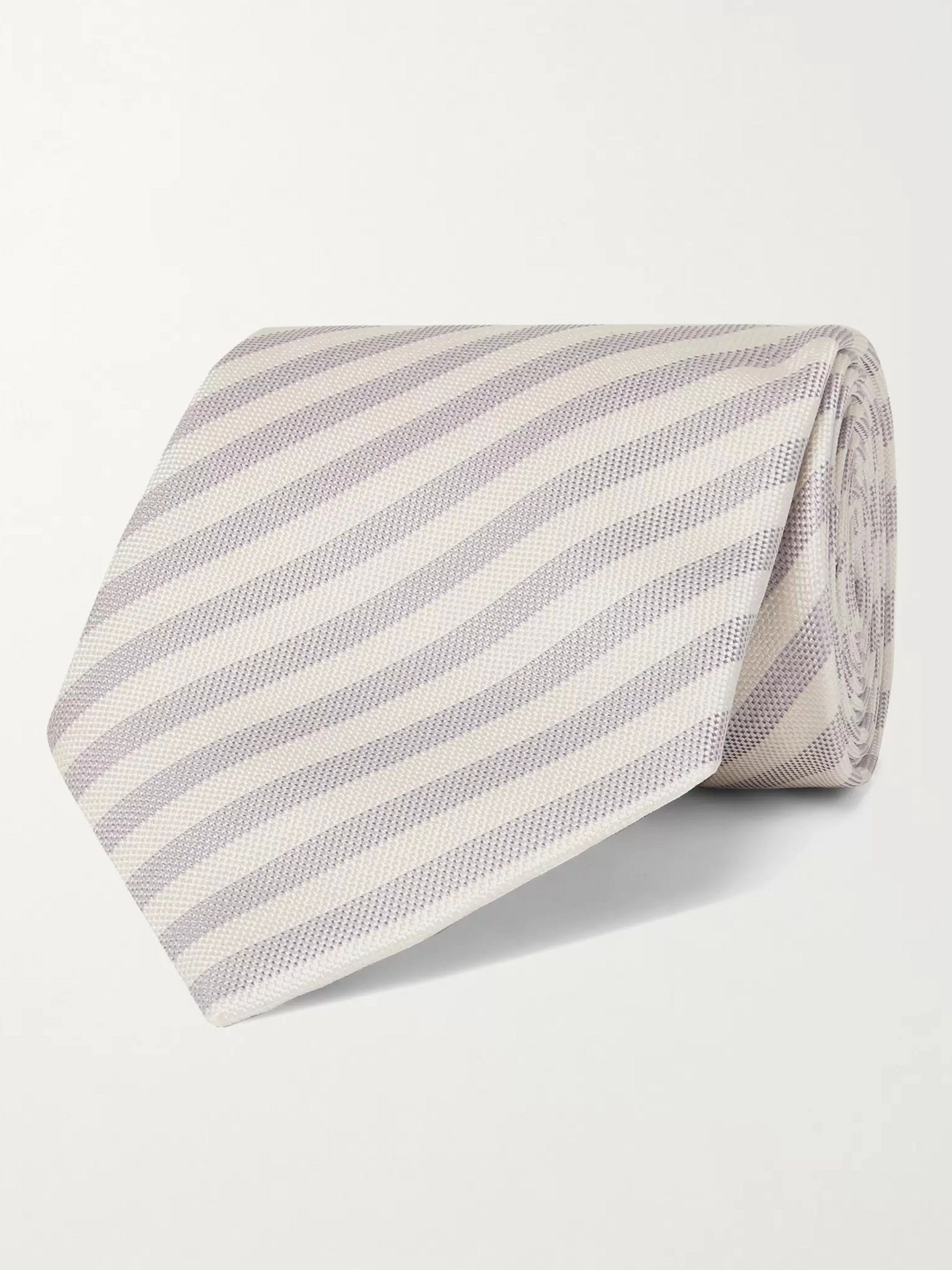 폴 스미스 Paul Smith 8cm Striped Silk Tie,Lilac