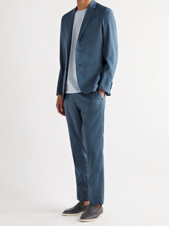 PAUL SMITH Slim-Fit Micro-Checked Wool Trousers