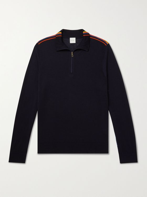 PAUL SMITH Slim-Fit Striped Merino Wool Half-Zip Sweater