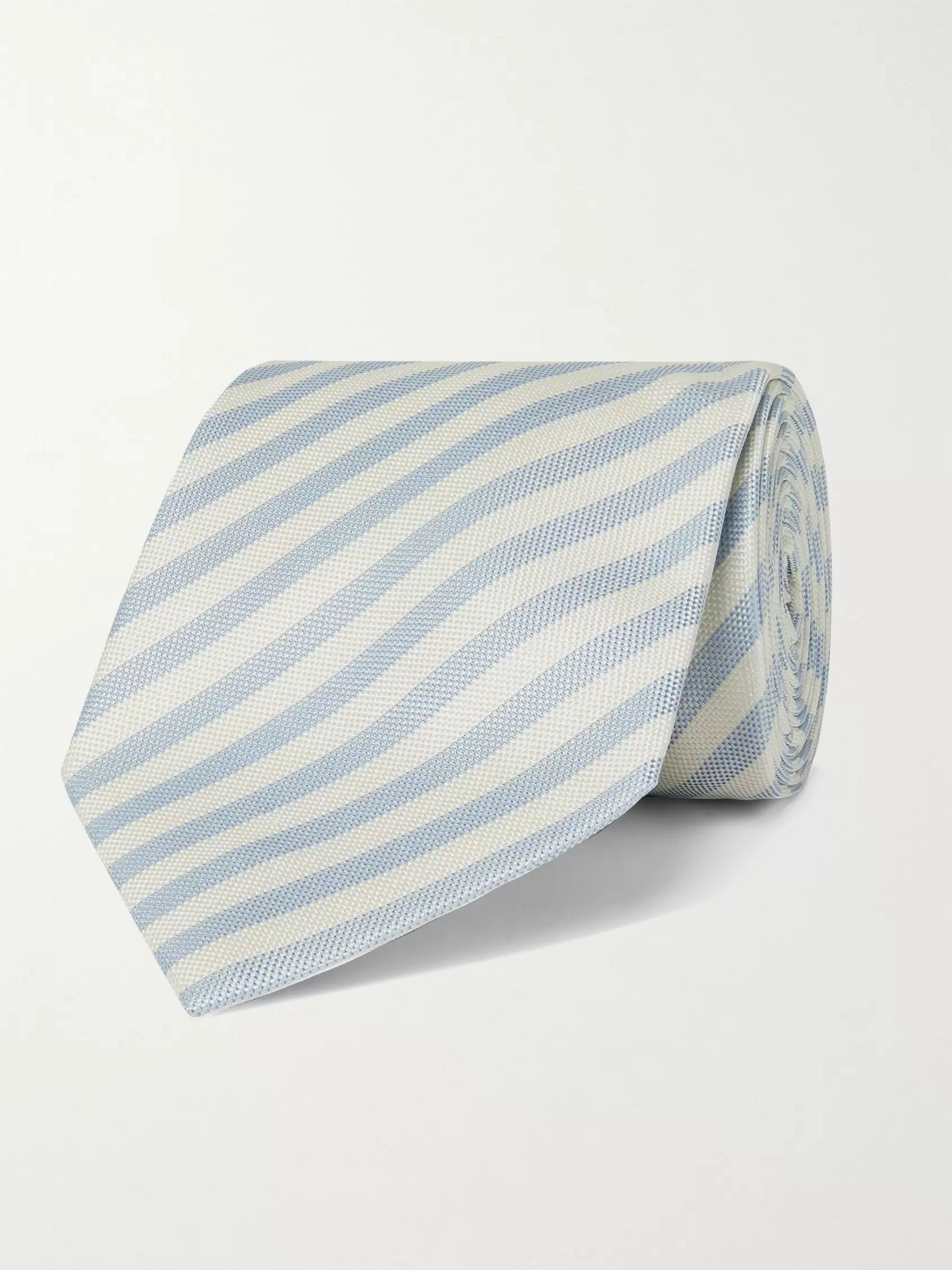 폴 스미스 Paul Smith 8cm Striped Silk Tie,Light blue