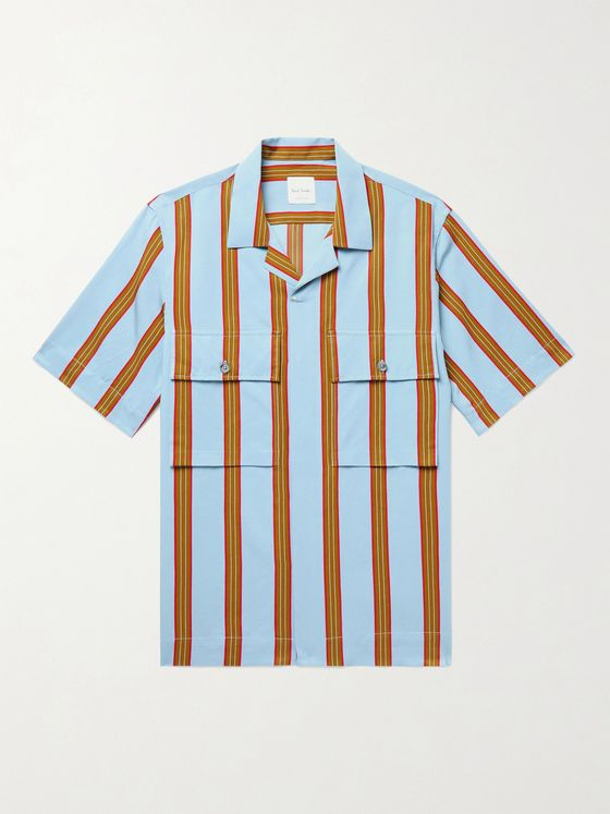 PAUL SMITH Soho Camp-Collar Striped Woven Shirt