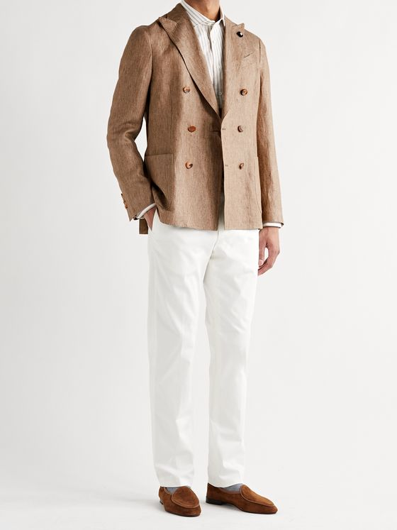 Lardini Unstructured Double-Breasted Linen Blazer
