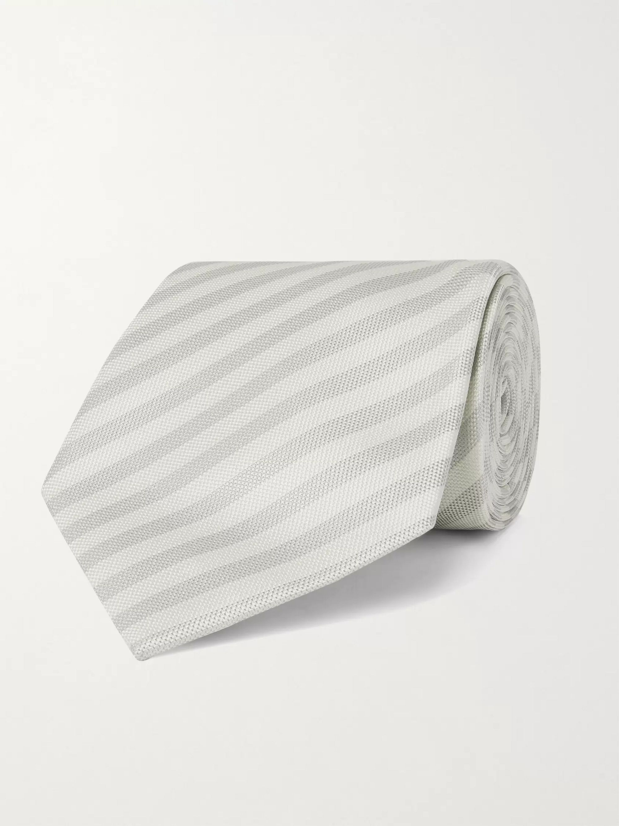 폴 스미스 Paul Smith 8cm Striped Silk Tie,Light gray