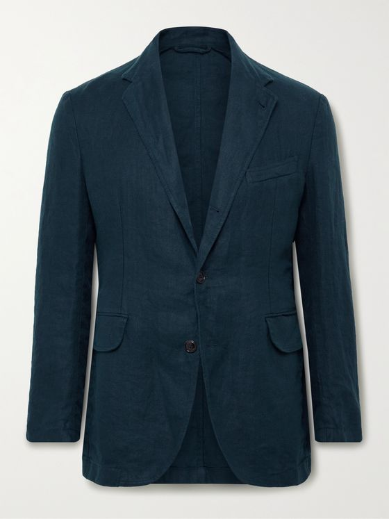 MAN 1924 Kennedy Unstructured Herringbone Linen Suit Jacket