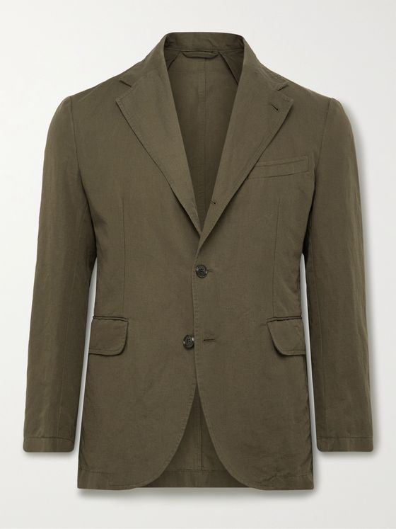 MAN 1924 Kennedy Unstructured Linen and Cotton-Blend Suit Jacket