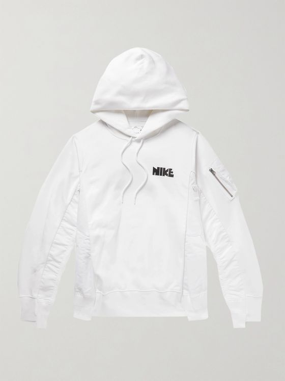 NIKE + Sacai NRG Panelled Logo-Print Cotton-Blend Jersey and Shell Hoodie