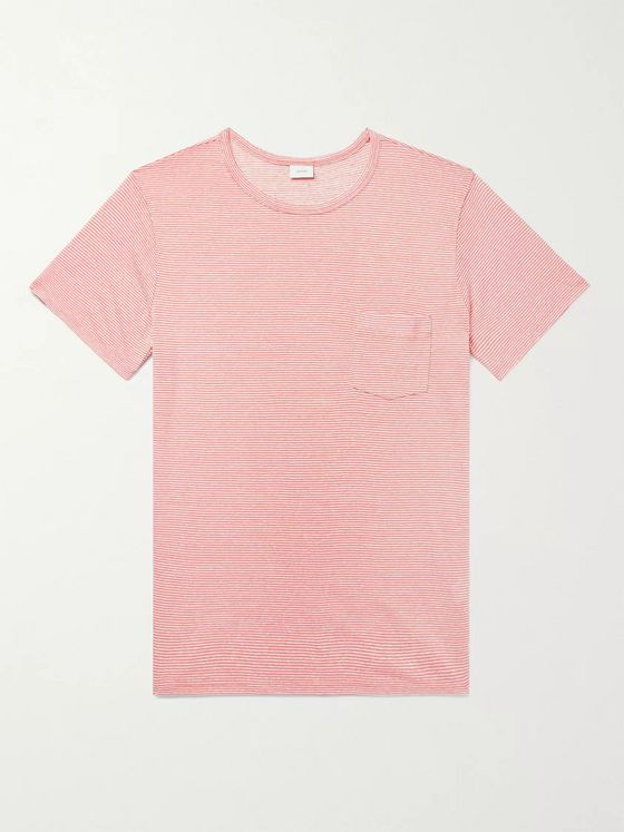 Onia Chad Striped Linen-Blend T-Shirt