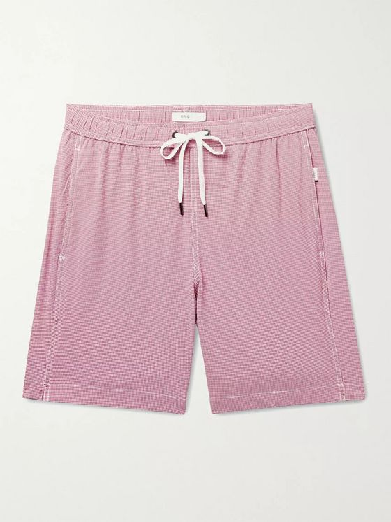 ONIA Charles Gingham Seersucker Swim Shorts