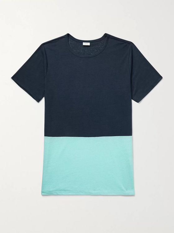 Onia Chad Colour-Block Linen-Blend T-Shirt