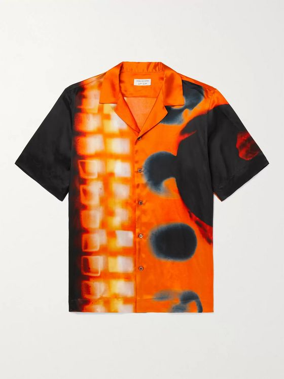 DRIES VAN NOTEN + Len Lye Camp-Collar Printed Satin Shirt