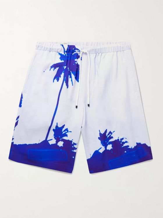 DRIES VAN NOTEN + Len Lye Piperi Printed Woven Drawstring Shorts