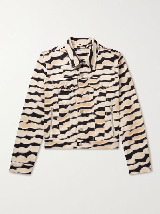 DRIES VAN NOTEN + Len Lye Cropped Printed Denim Jacket