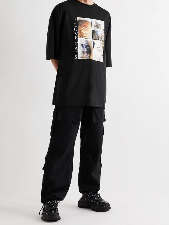 BALENCIAGA Oversized Distressed Printed Cotton-Jersey T-Shirt