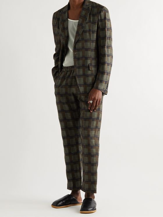 DRIES VAN NOTEN + Len Lye Checked Linen Suit Jacket