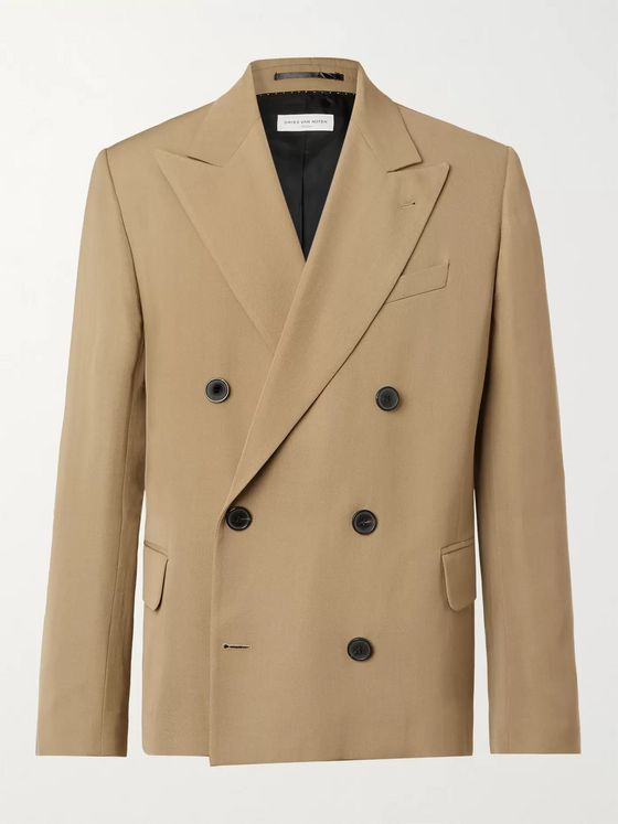 DRIES VAN NOTEN Double-Breasted Wool-Blend Gabardine Blazer