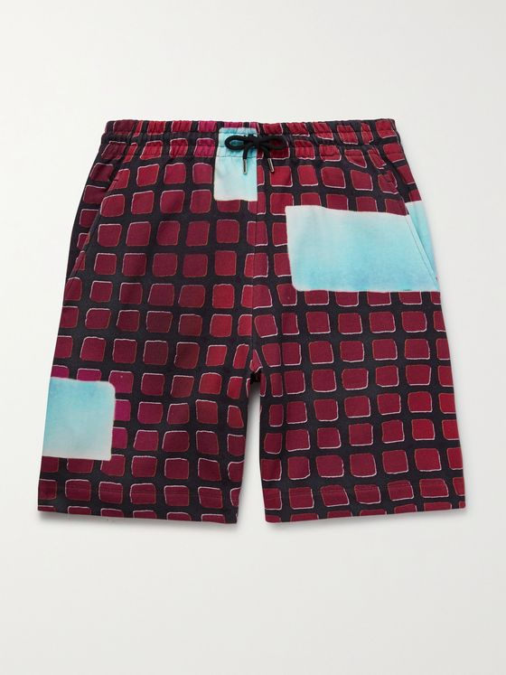 DRIES VAN NOTEN + Len Lye Printed Cotton Drawstring Bermuda Shorts