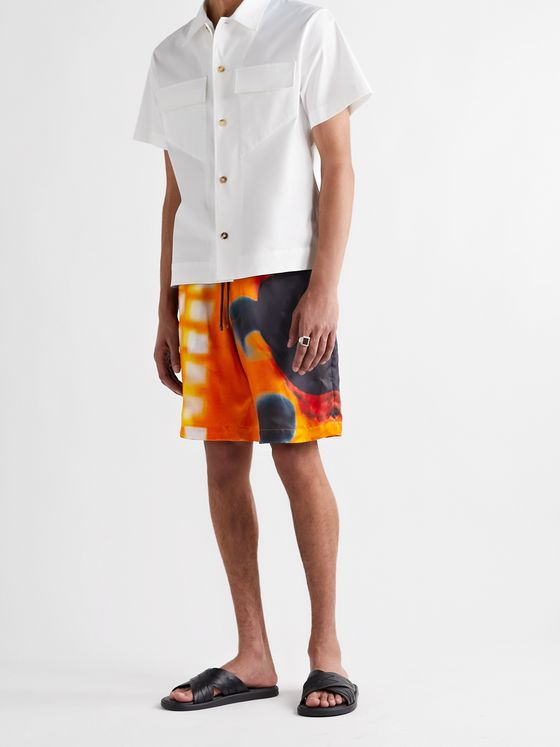DRIES VAN NOTEN + Len Lye Piperi Printed Satin-Twill Drawstring Shorts