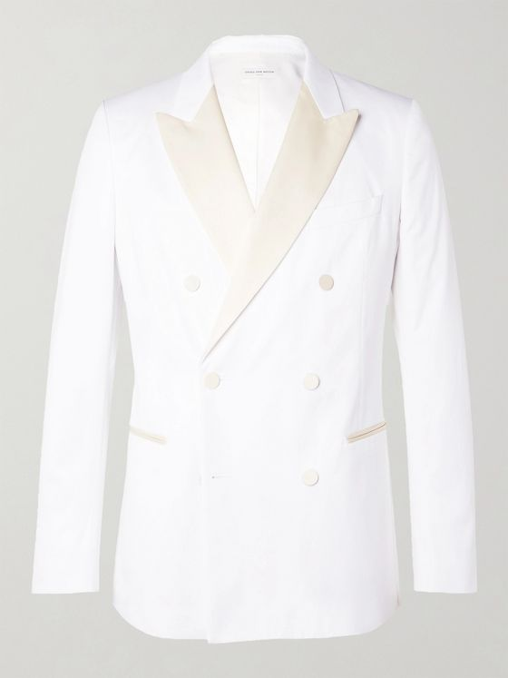 DRIES VAN NOTEN Slim-Fit Double-Breasted Satin-Trimmed Cotton-Blend Tuxedo Jacket