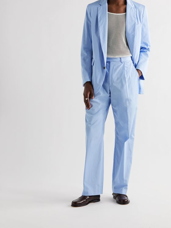 DRIES VAN NOTEN Wide-Leg Pleated Cotton-Poplin Suit Trousers
