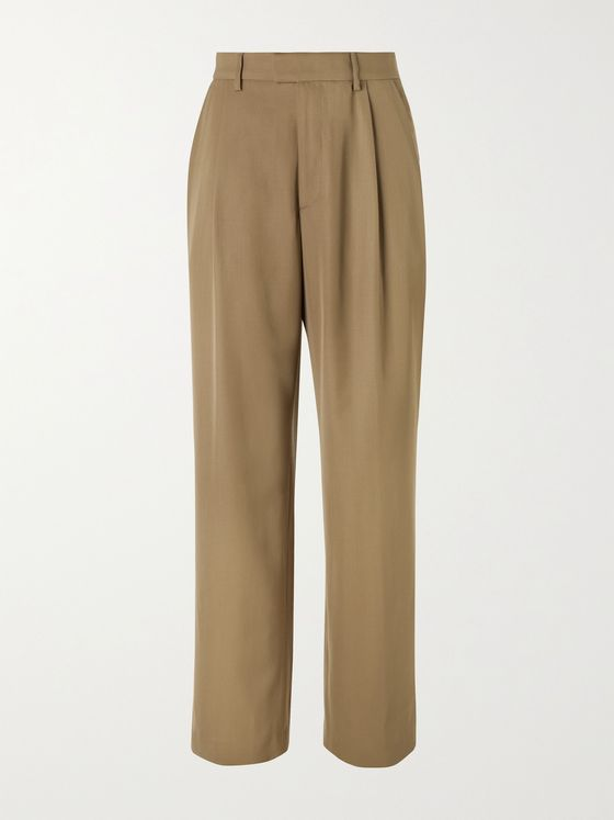 DRIES VAN NOTEN Wide-Leg Pleated Wool-Blend Gabardine Trousers