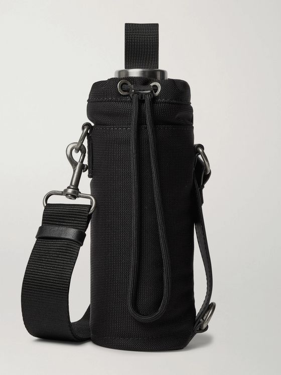 DRIES VAN NOTEN Steel Water Bottle and Leather-Trimmed Canvas Holder