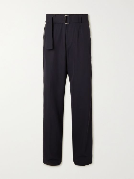 DRIES VAN NOTEN Belted Wool-Blend Gabardine Trousers