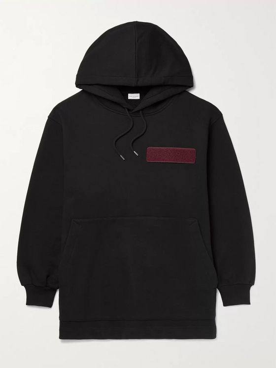 DRIES VAN NOTEN Oversized Appliquéd Loopback Cotton-Jersey Hoodie