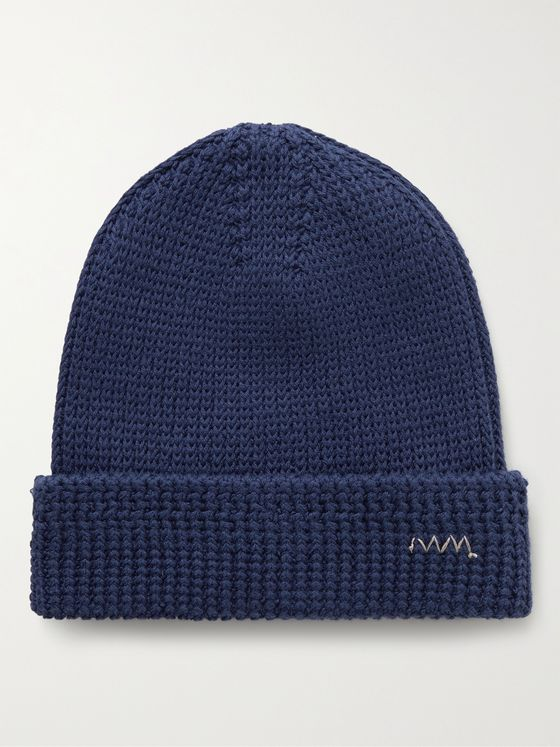 VISVIM Embroidered Ribbed Cotton-Blend Beanie